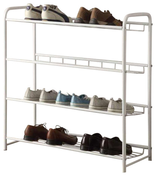 Casual Free Standing White Metal Storage Organizer Shelf Shoe Tower Rack Contemporary