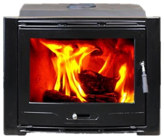 Hiflame Cast Iron Wood Burning Fireplace Insert, Enamel Black.