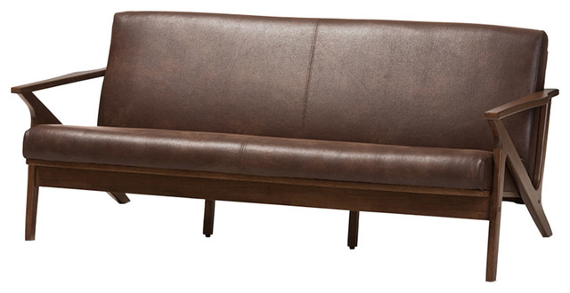 Bianca Walnut Wood Dark Brown Distressed Faux Leather Effect 3 Seater Sofa Midcentury Sofas By Hedgele