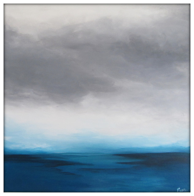 large abstract painting on canvas modern acrylic skyline 36x36