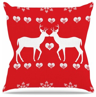 "Suzanne Carter ""Christmas Deer 2"" Holiday Pattern Throw Pillow, 26""x26"""