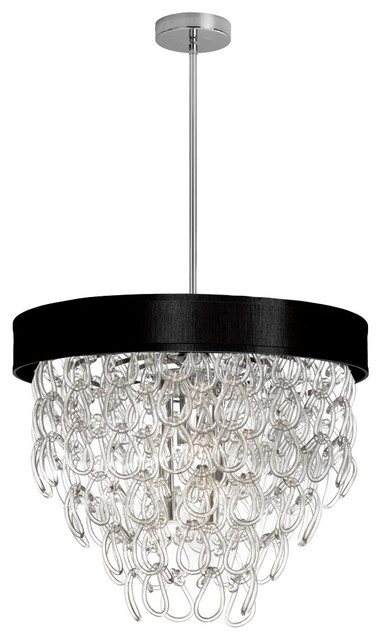 Olivia 6 light glass loop chandelier with shade black contemporary chandeliers