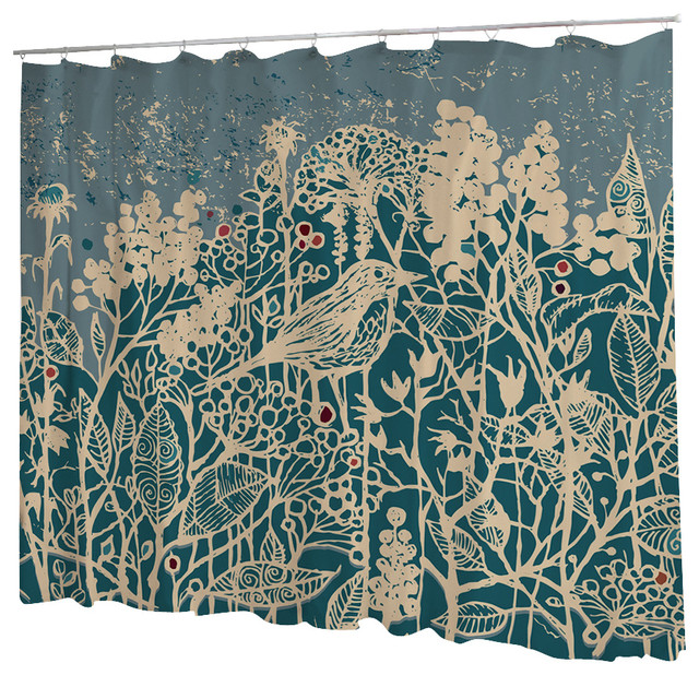 Uneekee Hedge Bird Shower Curtain