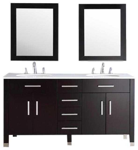 "Bathroom Vanity No Faucet Holes warren 72"" double basin sink vanity with 3 faucet holes, espresso"