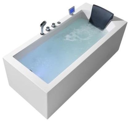 "Ariel 71"" Acrylic Left Drain Rectangular Alcove Whirlpool Bathtub, White"