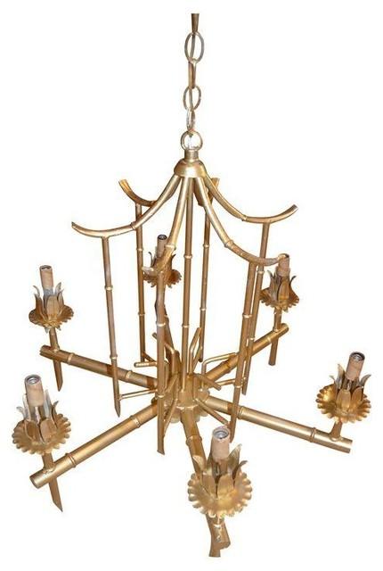 Palm Beach Pagoda Gold Faux Bamboo Chandelier - Modern ...