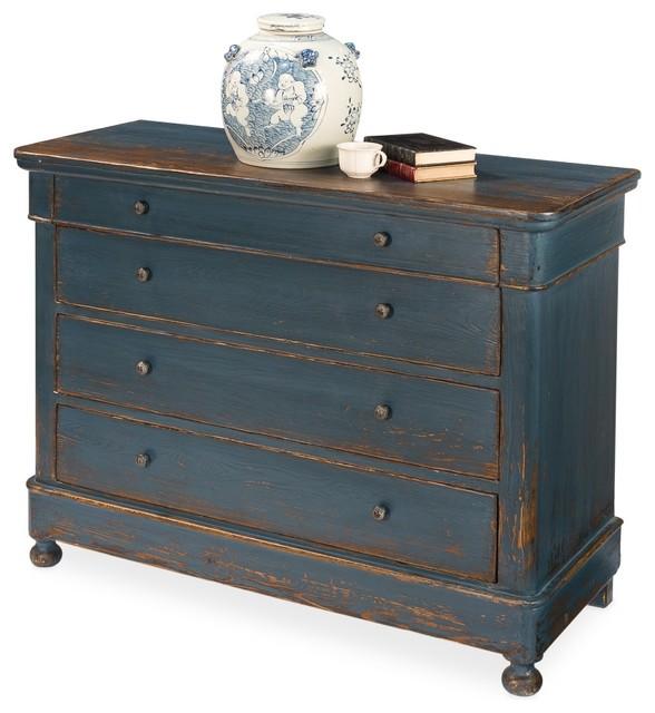 4-Drawer Cabinet, Blue Waves, Dark Blue, Rustic.