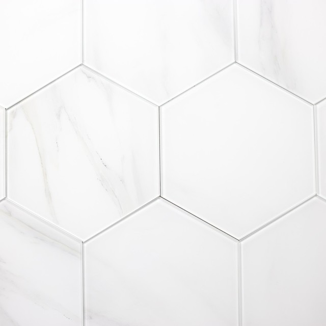 """8""""x8"""" White And Gray Calacata Marble Look Glass Hexagon Wall Tile, Set Of 10."""