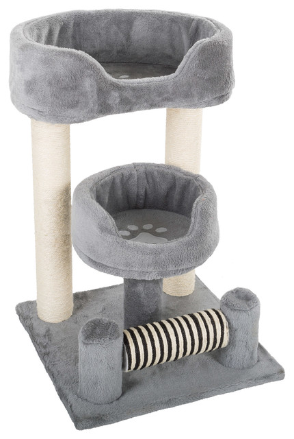 3 Tier Cat Tree 23 Gray White Scratching Posts And Perch Style Beds Contemporary Cat Furniture By Trademark Global