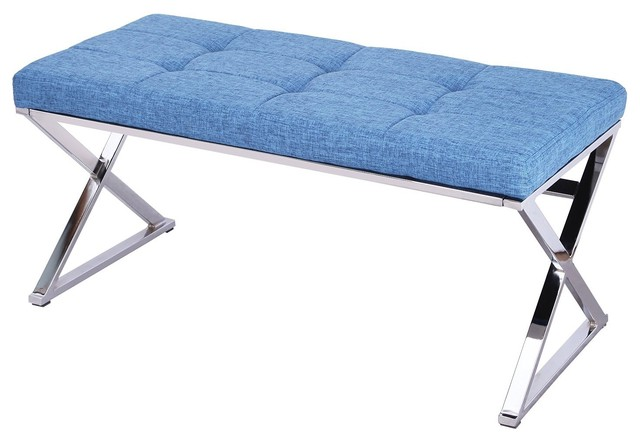 Joveco Faux Leather Tufted Table Bench Blue Industrial Upholstered Benches By Joveco