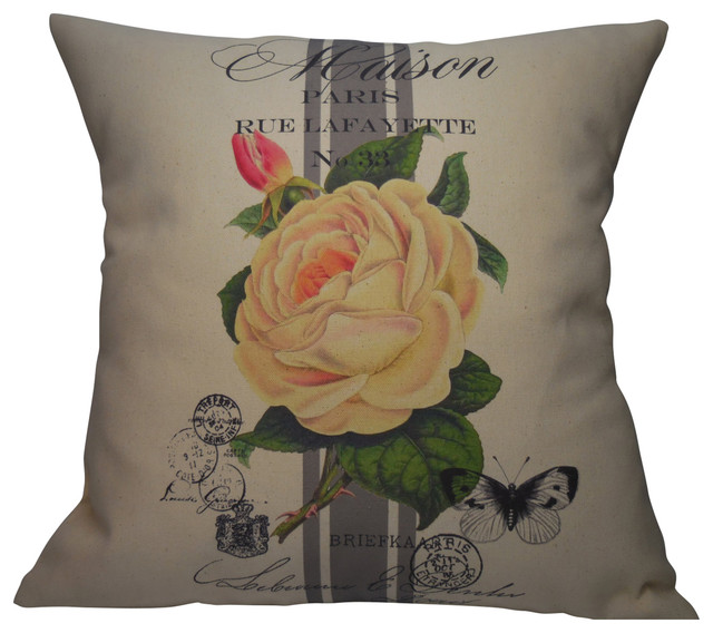 "French Rose Stripe Pillow, 16""x16""."