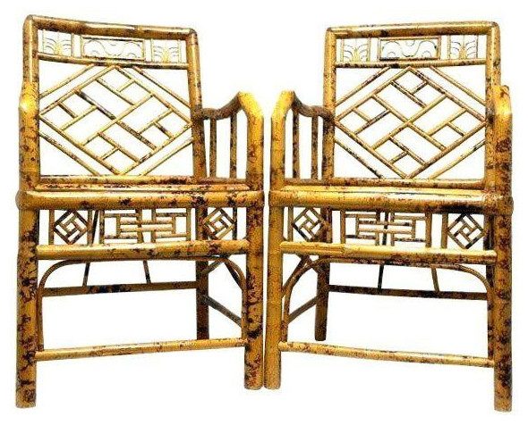 Elegant Hollywood Regency Style Bamboo Chairs Tropical Dining Chairs