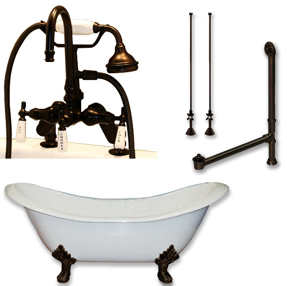 """Cast Iron Double Slipper Tub 71"""", Telephone Faucet Oil Rubbed Bronze Package."""
