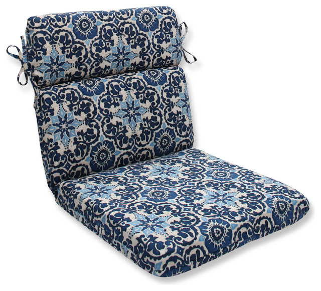 Woodblock Prism Blue Rounded Corners Chair Cushion Mediterranean Outdoor Cushions And Pillows By Pillow Perfect Inc