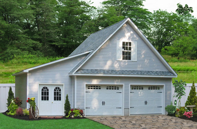 24x24 two car garage with lean to in millersville md for Modular garage addition