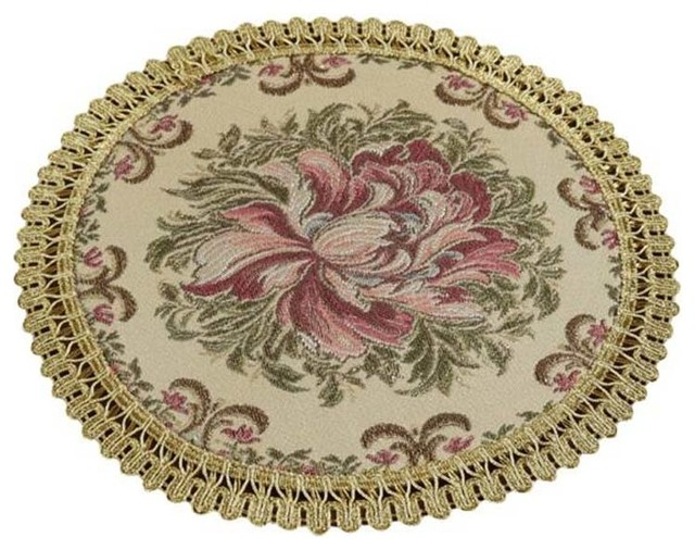Set Of 2 Modern Placemats Embroidery Round Dining Table Mats