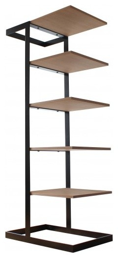 Alex De Rouvray Severin Shelf, Black Steel And American Walnut  Industrial Closet Organizers