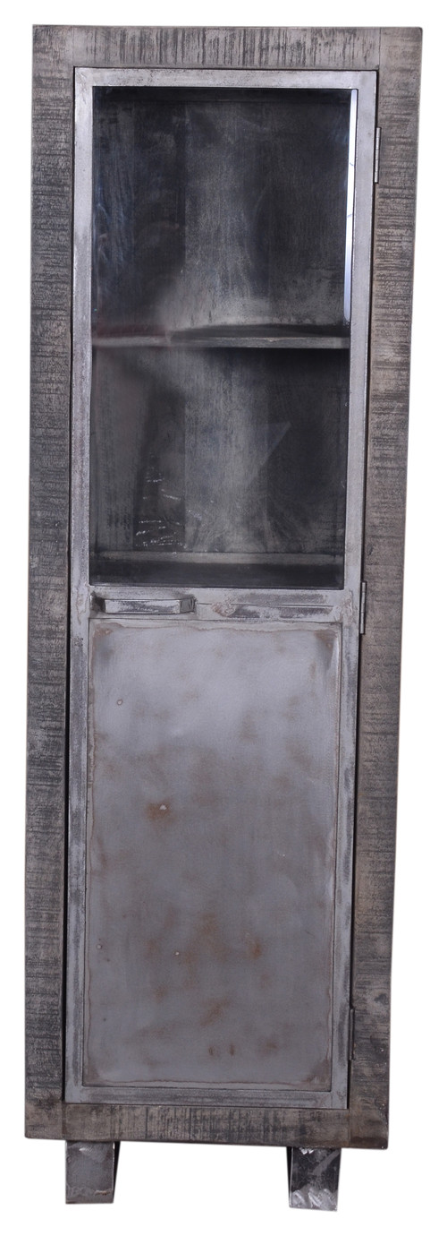 Industrial Gray Wooden Almirah/ Cabinet With Glass Door