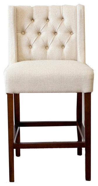 Tufted Wing Back Counter Stool Fabric Transitional