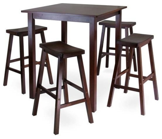 Parkland Square High, Pub Table Set With 4 Saddle Seat Stools.