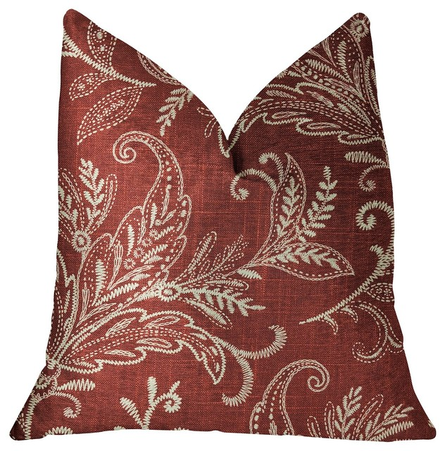 Berry Crest Vineyard Red And Beige Luxury Throw Pillow Contemporary Decorative Pillows By Plutus Brands