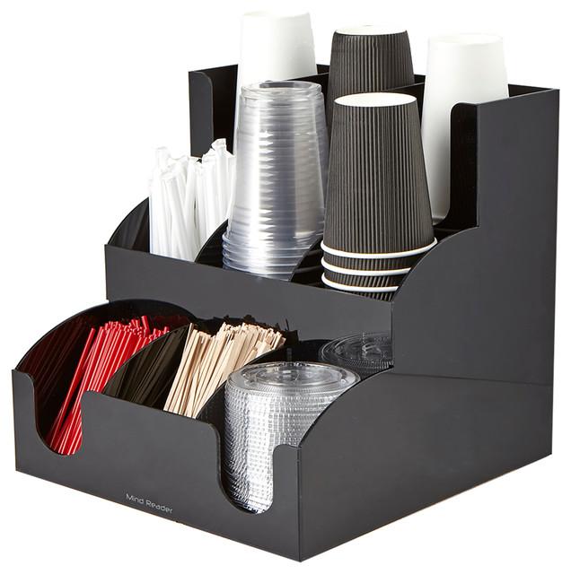 Acrylic 9 Compartment Condiment Organizer, Black.