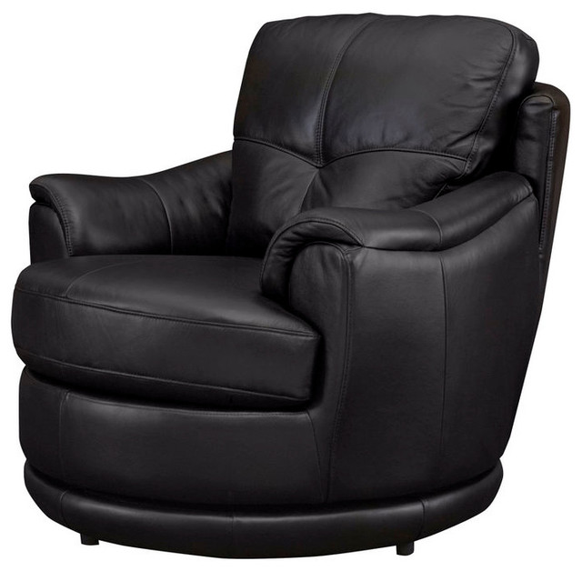 Swivel 100 Leather Tub Chair Transitional Armchairs
