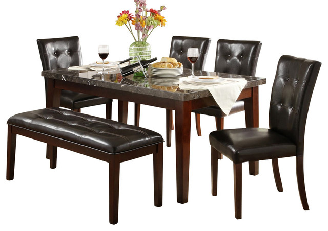 Homelegance Decatur 6-Piece Rectangular Dining Room Set With Marble Top