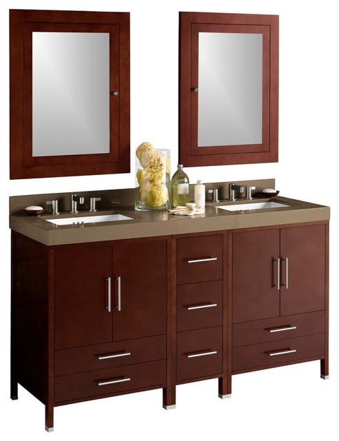Ronbow Juno Double Bathroom Vanity Set With Sink and Medicine Cabinet ...