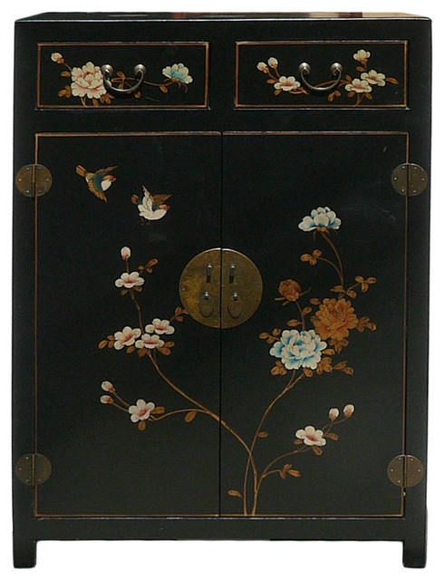 Chinese Black Veneer Leather Side Table Shoes Cabinet.