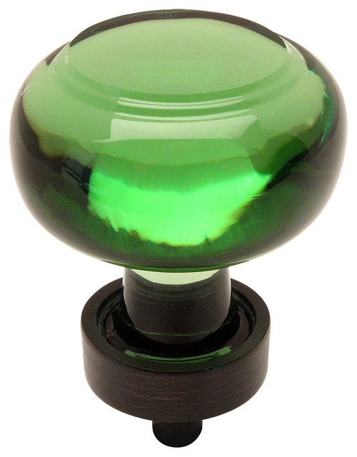Cosmas 6355ORB Oil Rubbed Bronze and Glass Round Cabinet Knob, Green Glass