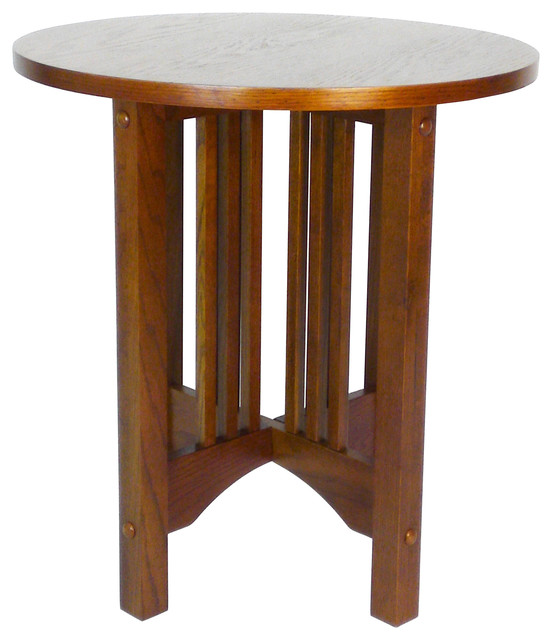Ranier Oak Round Table Craftsman Side Tables And End Tables