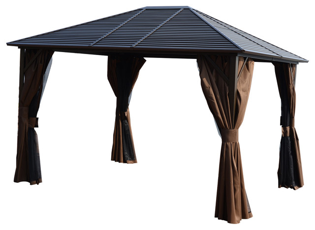 Outsunny 12x10 Steel Hardtop Outdoor Gazebo With Curtains ...