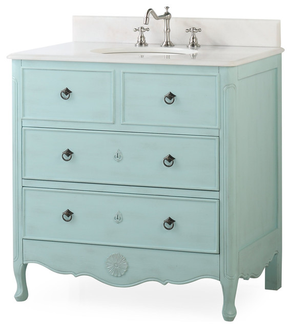34 Dalleville Light Blue Bathroom Vanity Traditional Bathroom Vanities And Sink Consoles By Chans Furniture Houzz