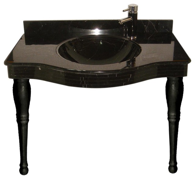 absolute black granite console sink