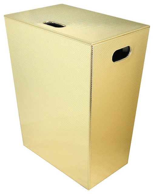 Ecopelle Laundry Basket/hamper With Cover, Gold.