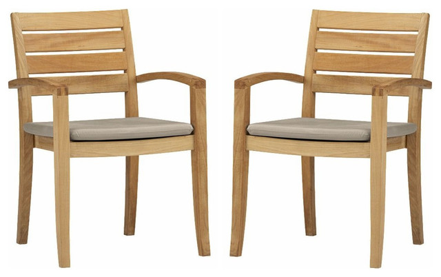 Travota Stacking Arm Chairs Teak Outdoor Dining Patio Set Of 2 Transitional Outdoor Dining Chairs By Teak Deals Houzz