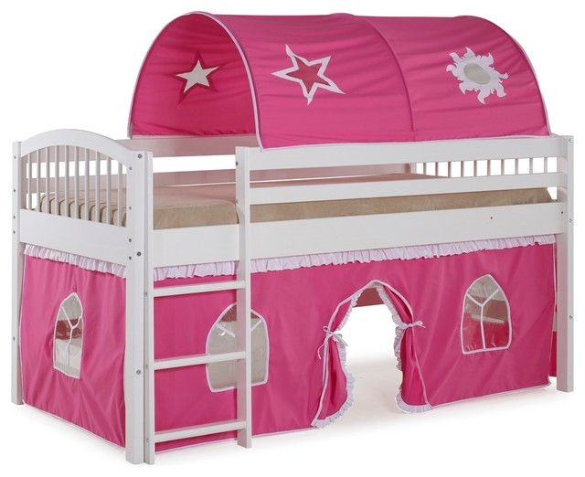 Addison Junior Loft Bed With Tent And Playhouse, White.