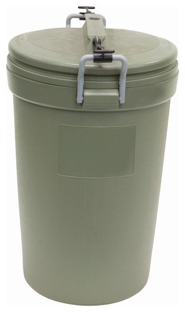 Rubbermaid Blow Molded Round Trash Can With Locking Lid