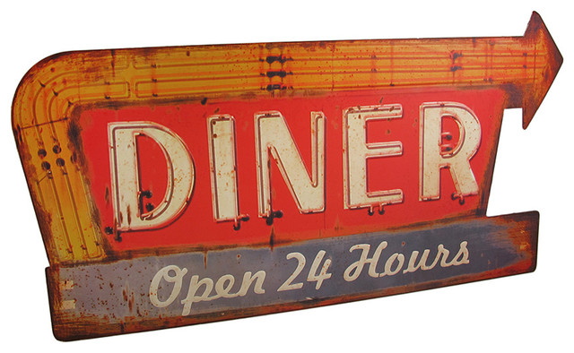 Distressed Finish Retro 24 Hour Diner Metal Sign  : industrial novelty signs from www.houzz.com size 640 x 394 jpeg 86kB