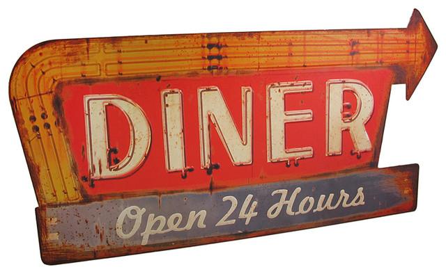 Distressed Finish Retro 24 Hour Diner Metal Sign