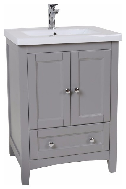 Elegant Gray Bathroom Vanity Transitional Bathroom