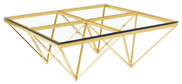Zest Coffee Table, Gold Steel And Glass Contemporary Coffee Tables