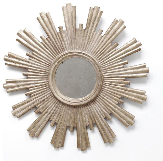 Starburst Antique-Style Mirror, Champagne Silver.