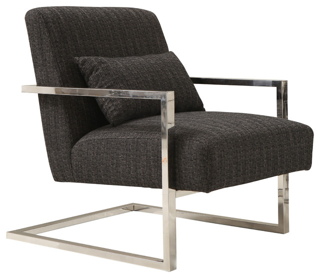 Magnificent Skyline Contemporary Accent Chair With Velvet And Polished Silver Charcoal Andrewgaddart Wooden Chair Designs For Living Room Andrewgaddartcom