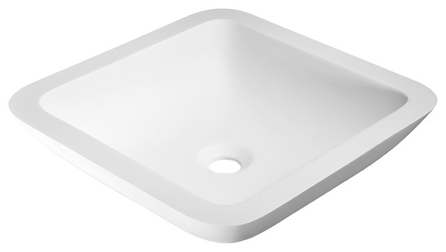Anzzi Ares Man Made Stone Vessel Sink, White.