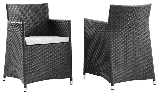 Junction Armchair Outdoor Patio Wicker, Set Of 2, Brown White.