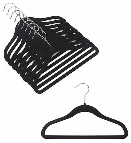 Children&x27;s Slim-Line Hanger, Black, Set Of 20.