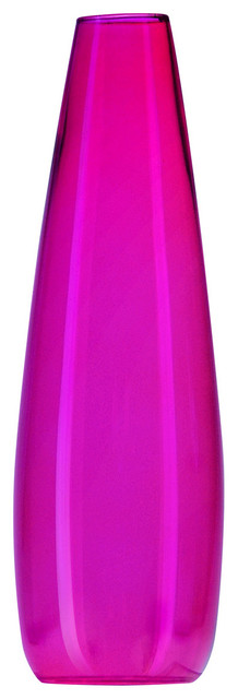 """Couronne Co. 5.5"""" Tapered Glass Vase, Fuchsia"""