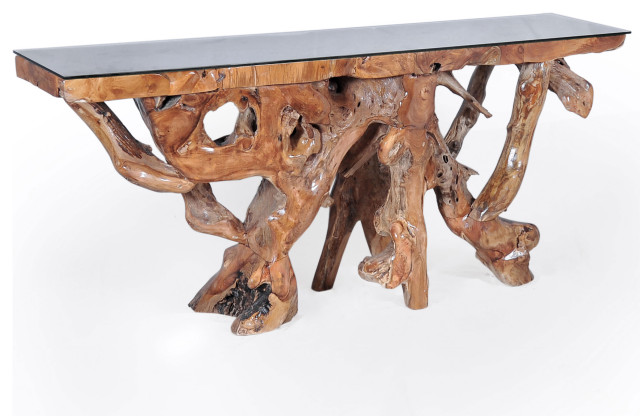 Teak Wood Root Console Table With Glass Top, 72\